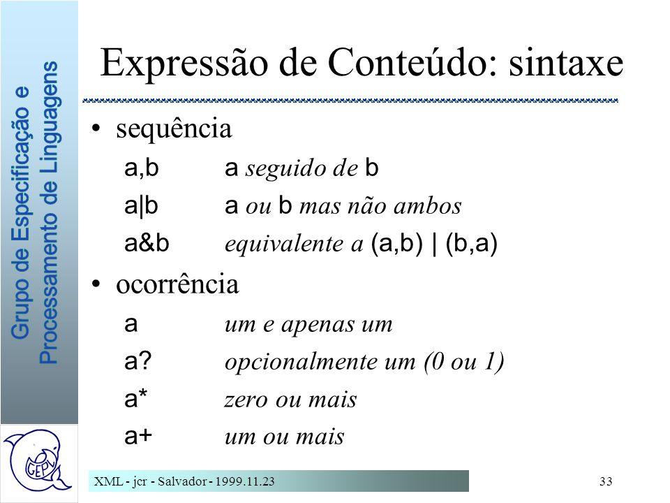 Expressão de Conteúdo: sintaxe
