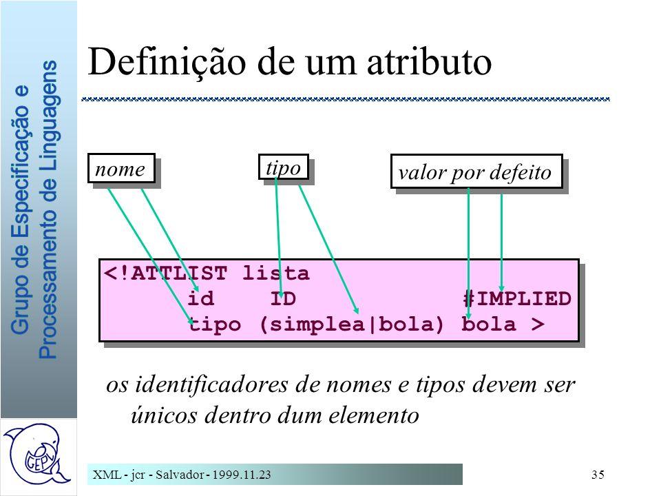 Definição de um atributo