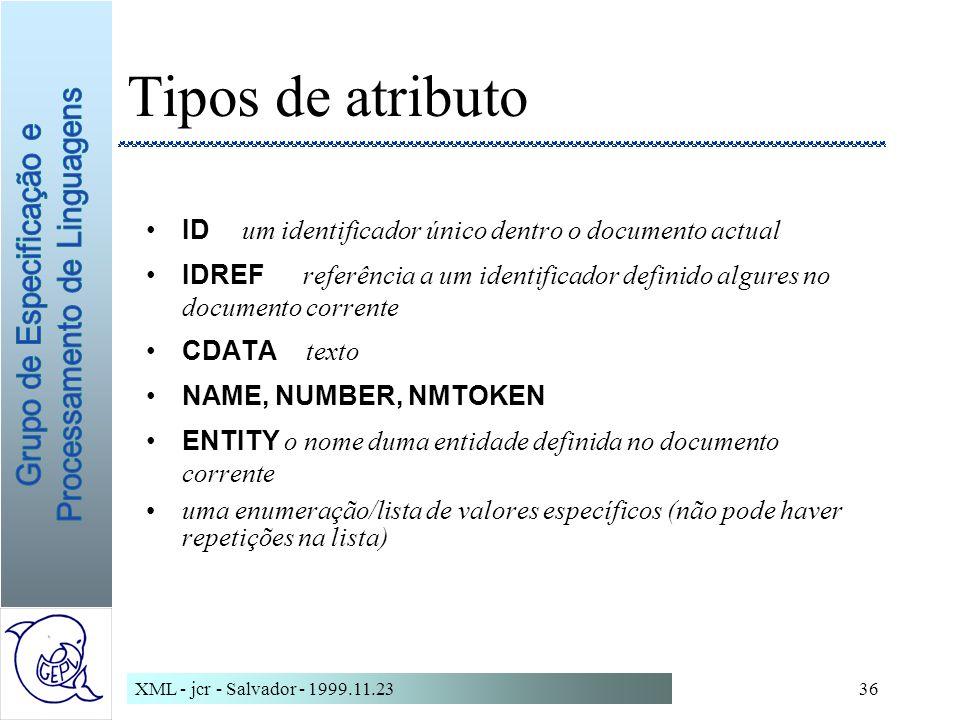 Tipos de atributo ID um identificador único dentro o documento actual
