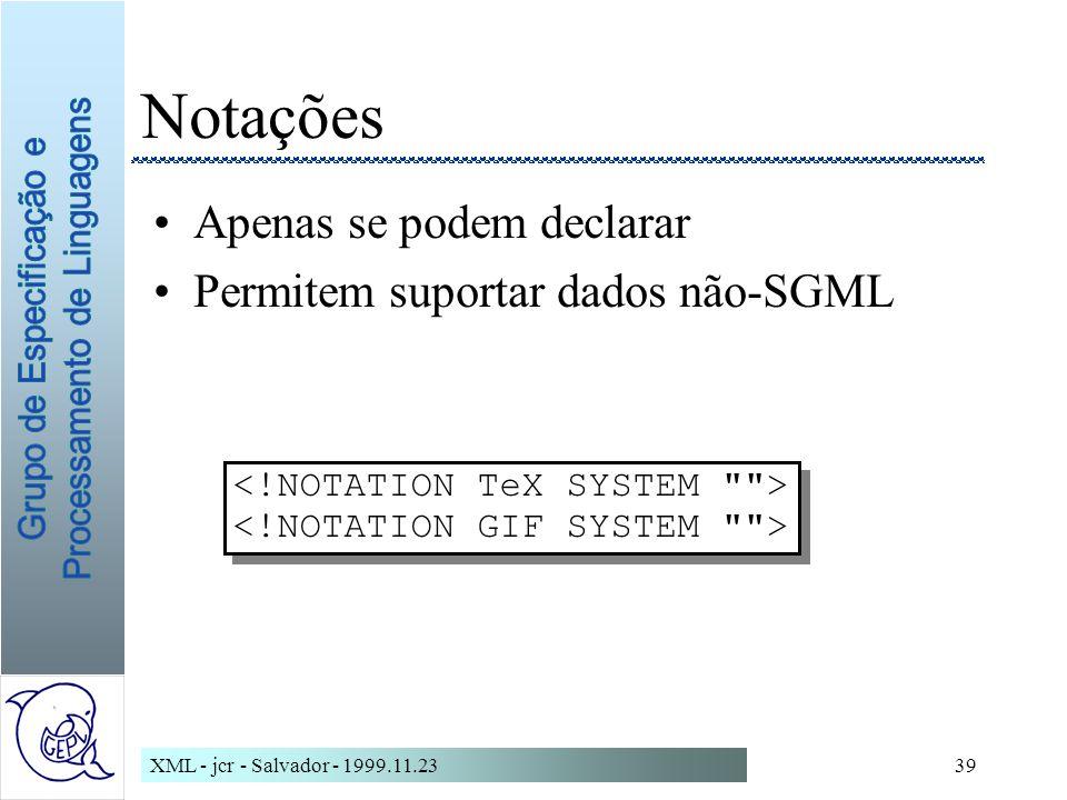 Notações Apenas se podem declarar Permitem suportar dados não-SGML
