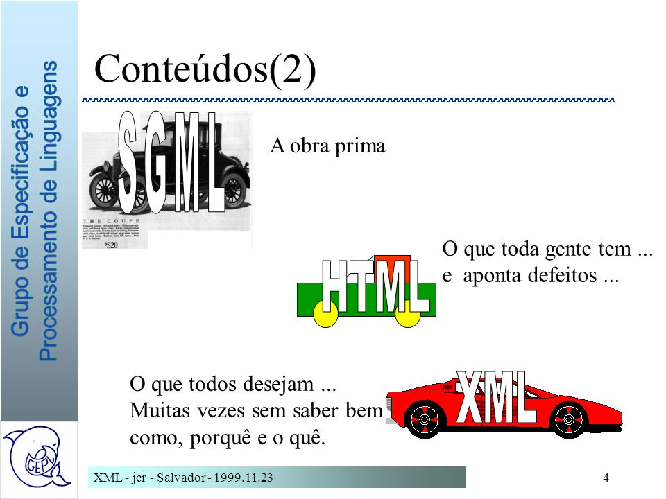 Conteúdos(2) SGML HTML XML A obra prima O que toda gente tem ...
