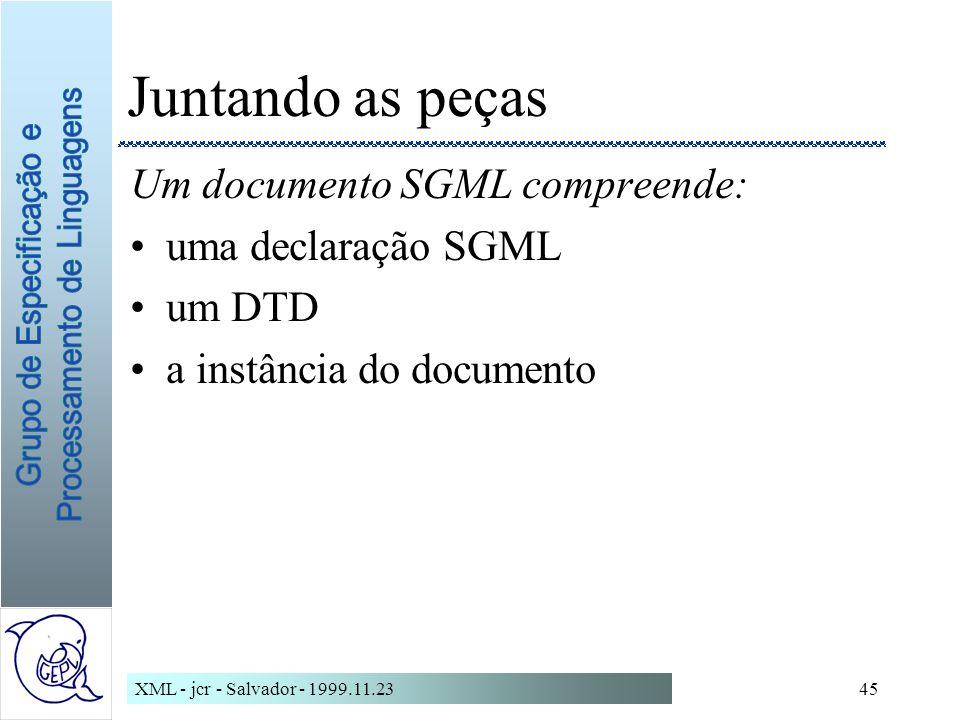 Juntando as peças Um documento SGML compreende: uma declaração SGML