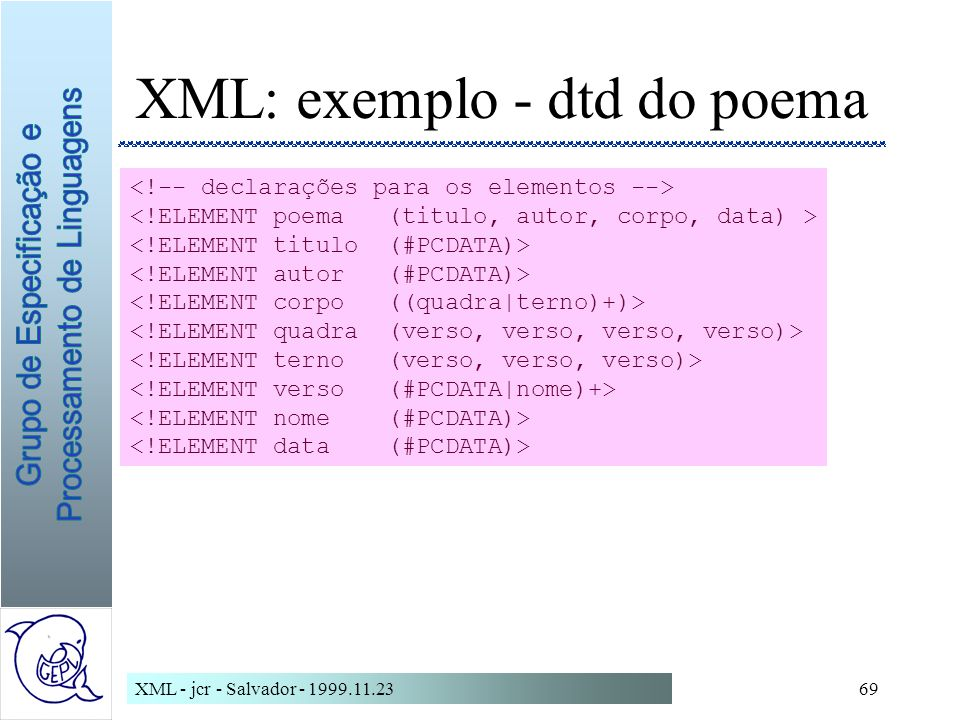 XML: exemplo - dtd do poema