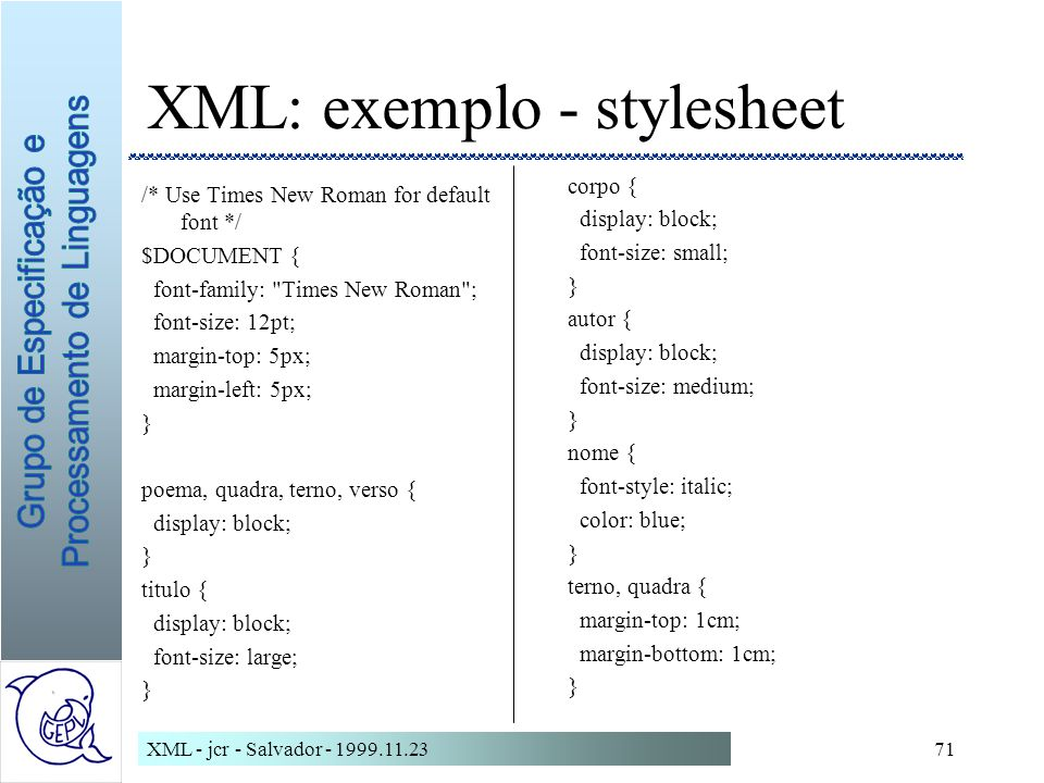 XML: exemplo - stylesheet