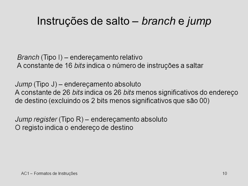 Instruções de salto – branch e jump