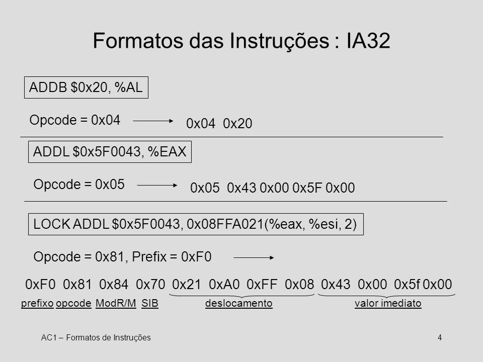 Formatos das Instruções : IA32