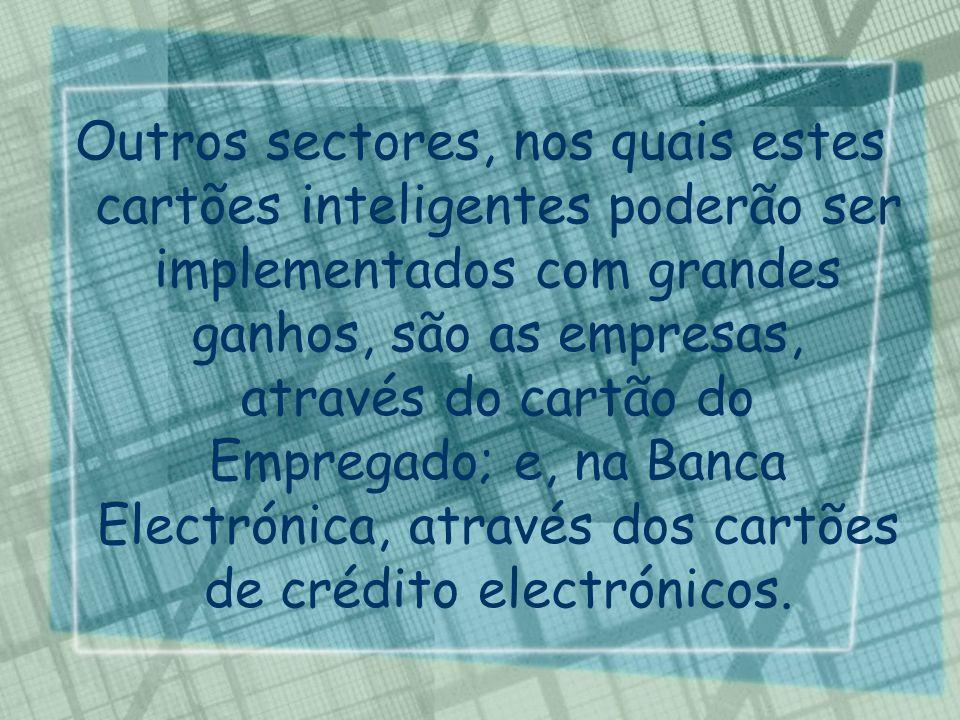 Outros sectores, nos quais estes cartões inteligentes poderão ser implementados com grandes ganhos, são as empresas, através do cartão do Empregado; e, na Banca Electrónica, através dos cartões de crédito electrónicos.