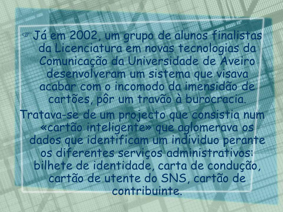 Já em 2002, um grupo de alunos finalistas da Licenciatura em novas tecnologias da Comunicação da Universidade de Aveiro desenvolveram um sistema que visava acabar com o incomodo da imensidão de cartões, pôr um travão à burocracia.