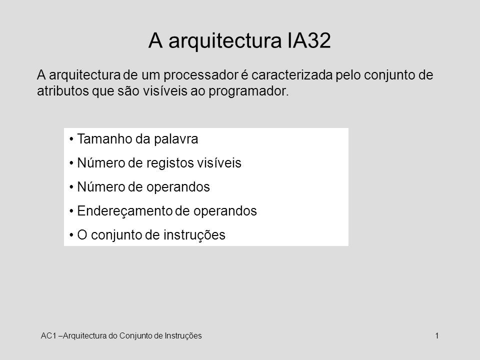 A arquitectura IA32A arquitectura de um processador é caracterizada pelo conjunto de atributos que são visíveis ao programador.