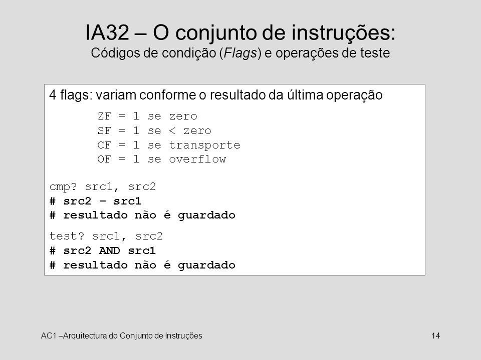 IA32 – O conjunto de instruções: Códigos de condição (Flags) e operações de teste