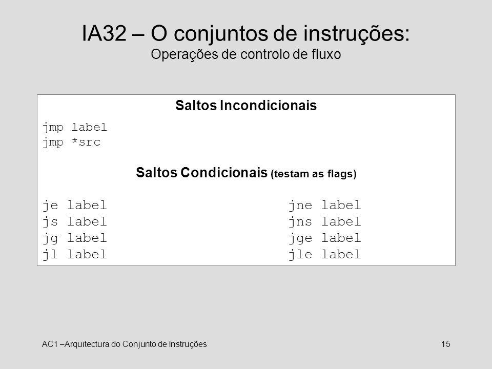 IA32 – O conjuntos de instruções: Operações de controlo de fluxo