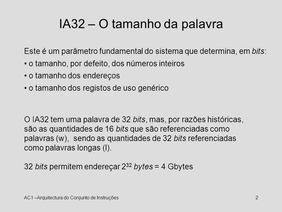 IA32 – O tamanho da palavra