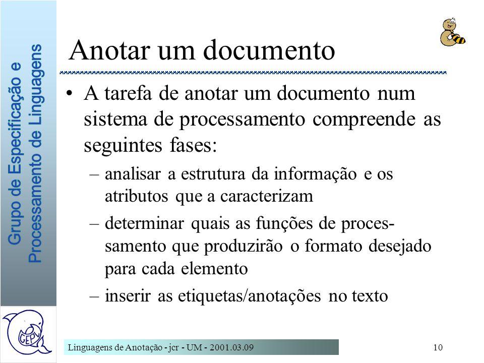 Anotar um documentoA tarefa de anotar um documento num sistema de processamento compreende as seguintes fases: