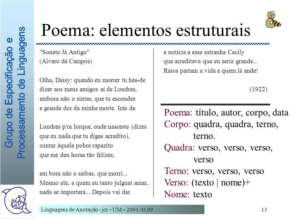 Poema: elementos estruturais