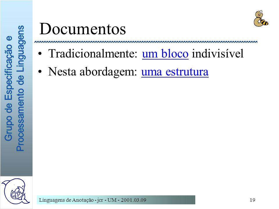 Documentos Tradicionalmente: um bloco indivisível