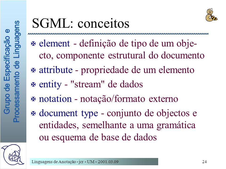 SGML: conceitoselement - definição de tipo de um obje-cto, componente estrutural do documento. attribute - propriedade de um elemento.