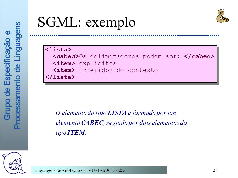 SGML: exemplo <lista>