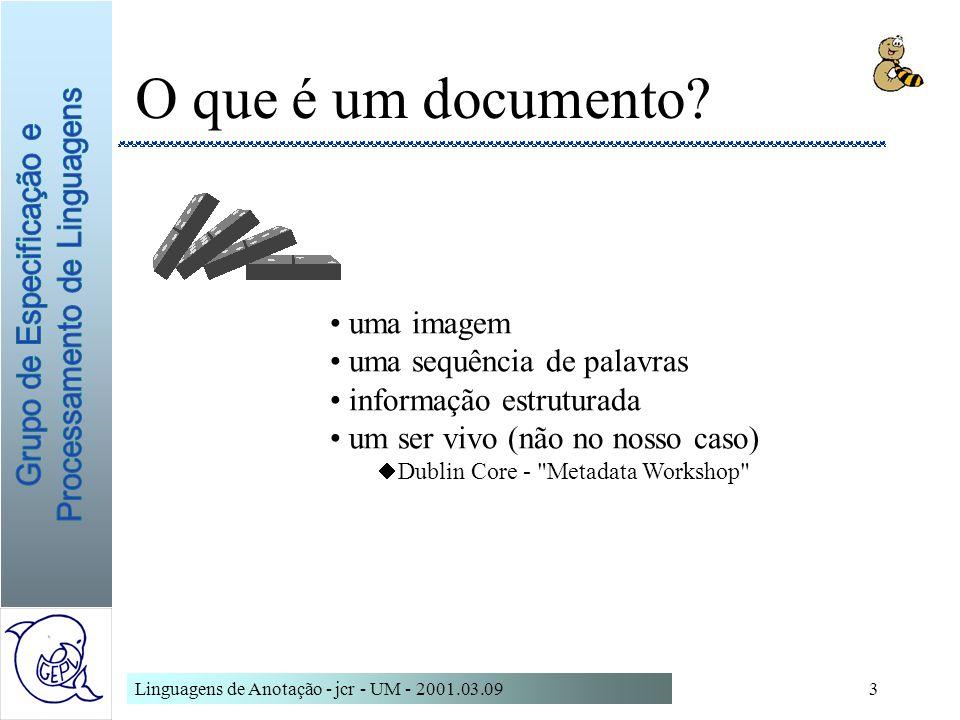 O que é um documento uma imagem uma sequência de palavras