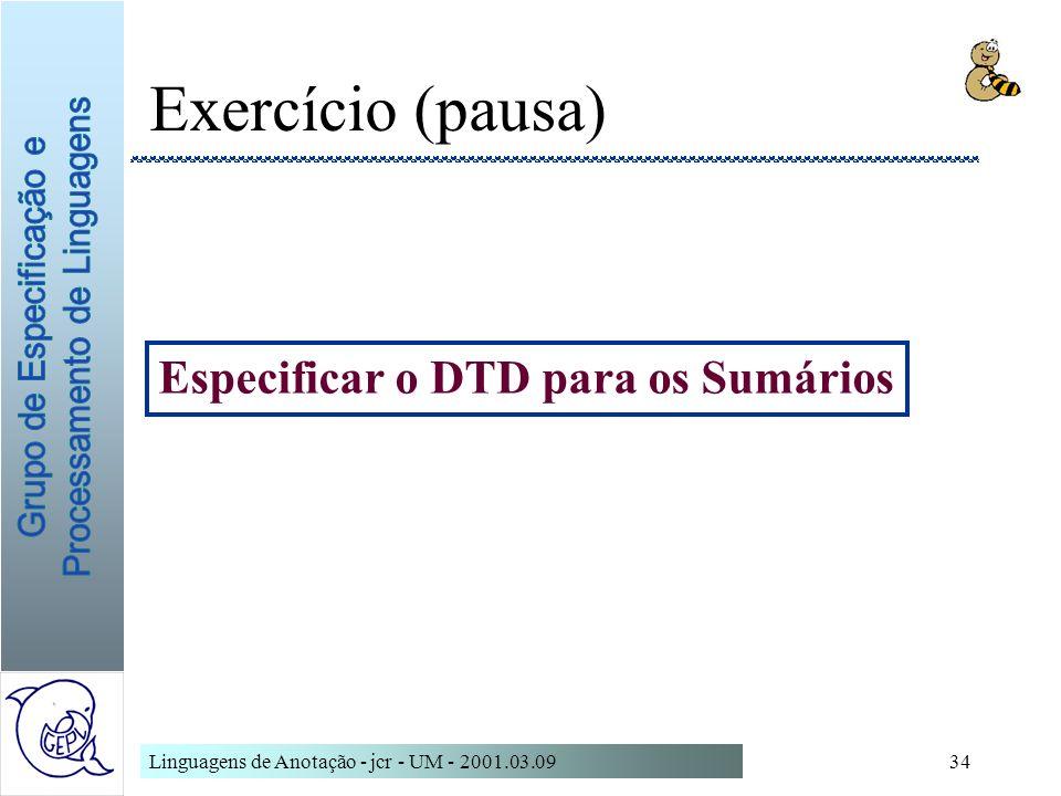 Especificar o DTD para os Sumários