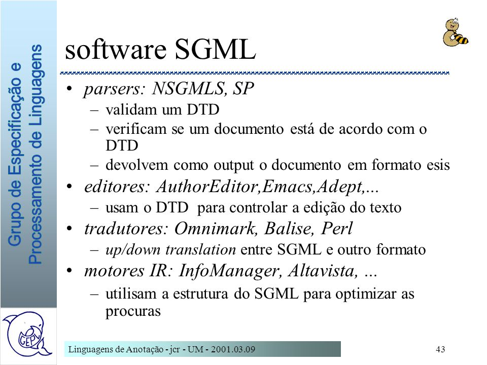 software SGML parsers: NSGMLS, SP