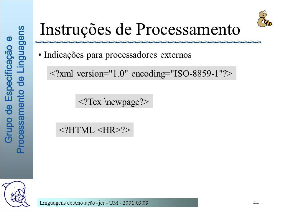 Instruções de Processamento
