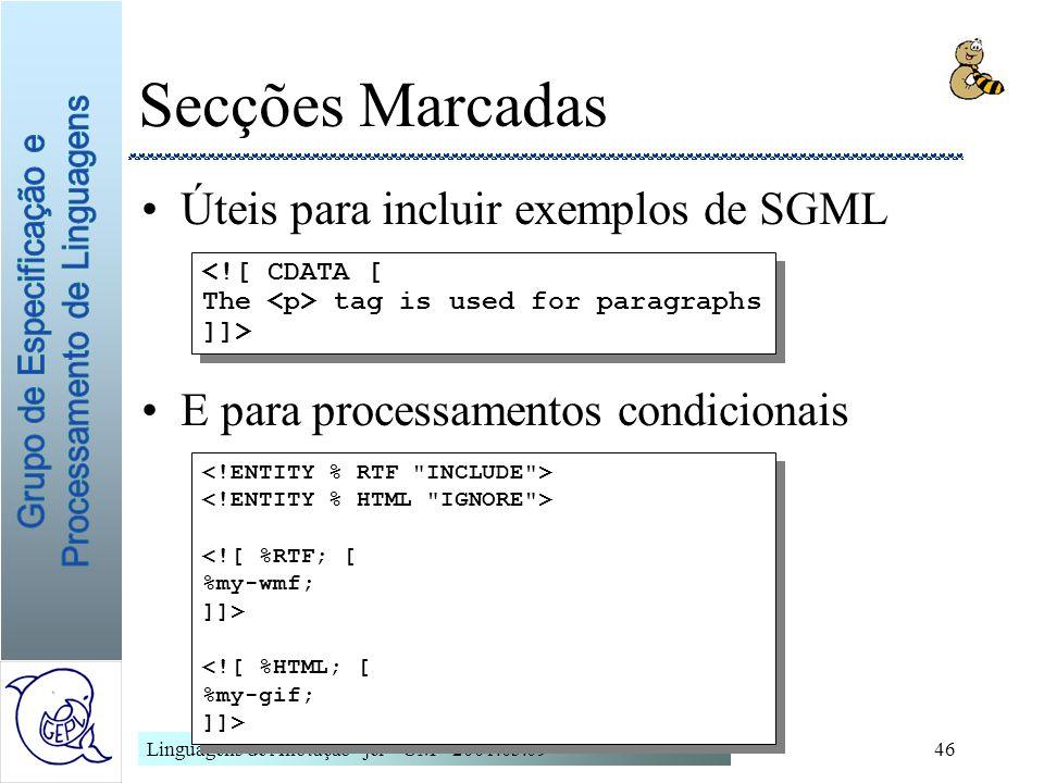 Secções Marcadas Úteis para incluir exemplos de SGML
