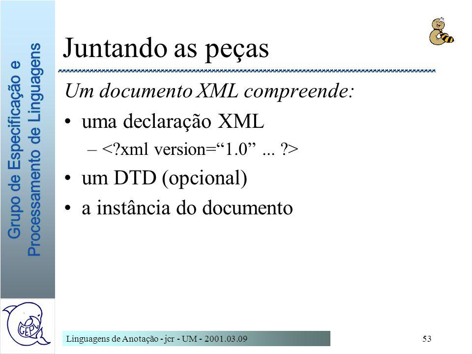 Juntando as peças Um documento XML compreende: uma declaração XML