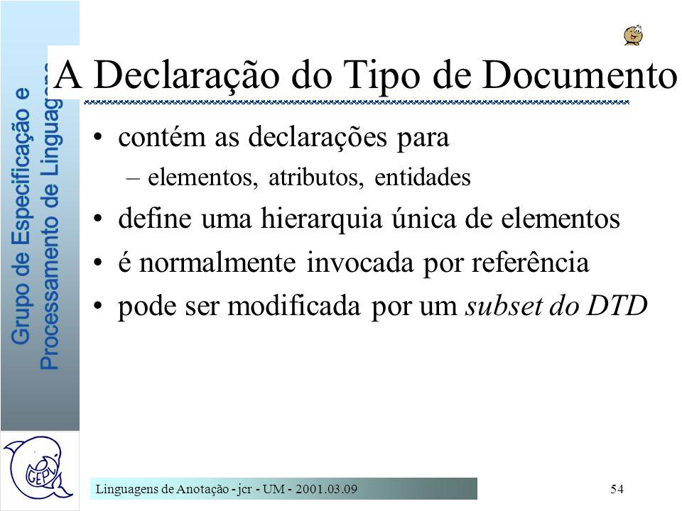 A Declaração do Tipo de Documento