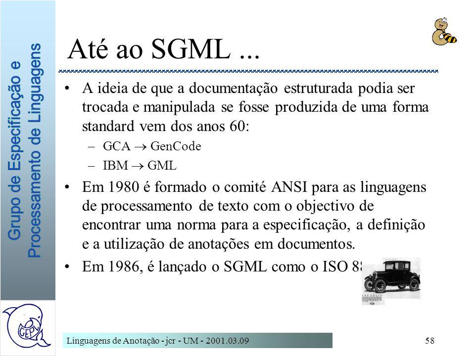 Até ao SGML ... A ideia de que a documentação estruturada podia ser trocada e manipulada se fosse produzida de uma forma standard vem dos anos 60: