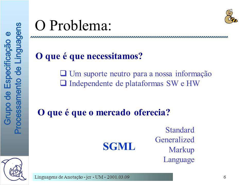 O Problema: SGML O que é que necessitamos