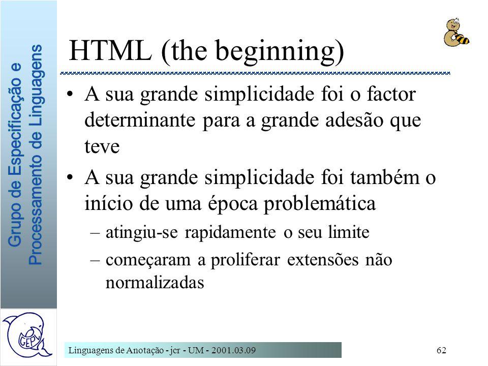 HTML (the beginning)A sua grande simplicidade foi o factor determinante para a grande adesão que teve.