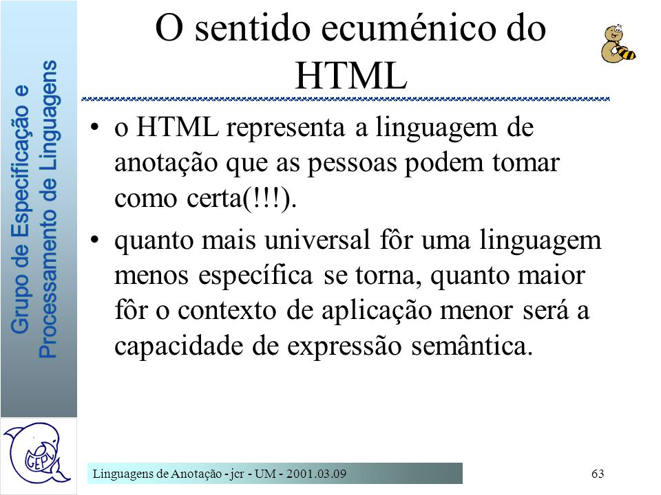 O sentido ecuménico do HTML