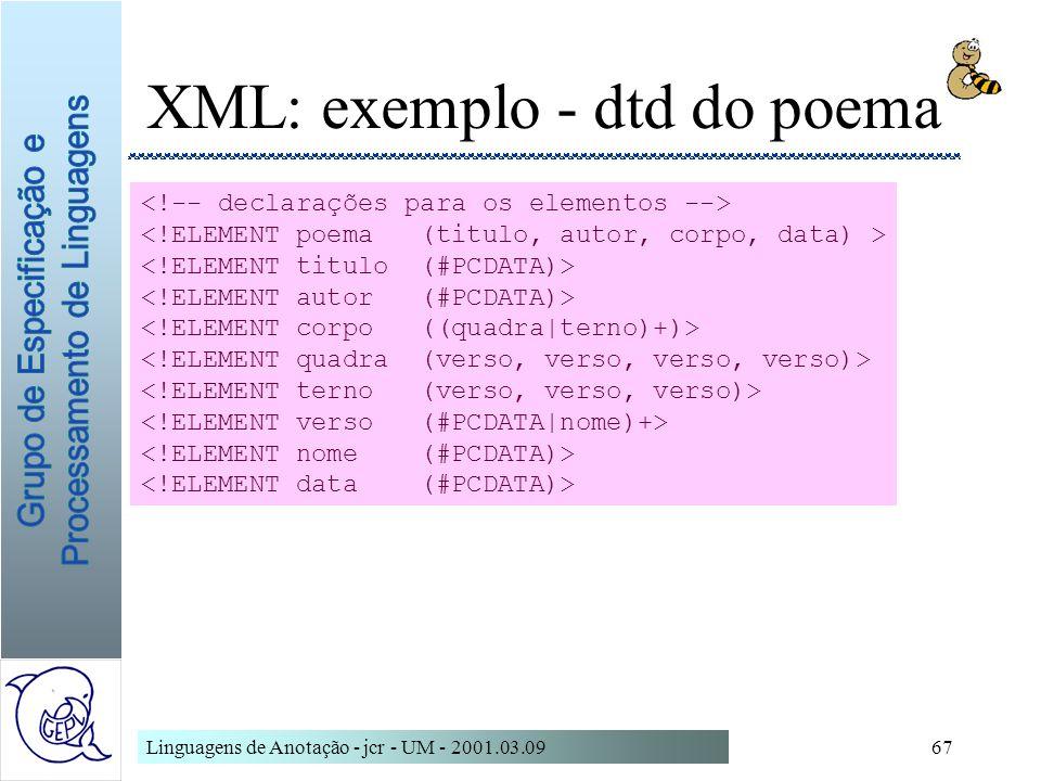 XML: exemplo - dtd do poema