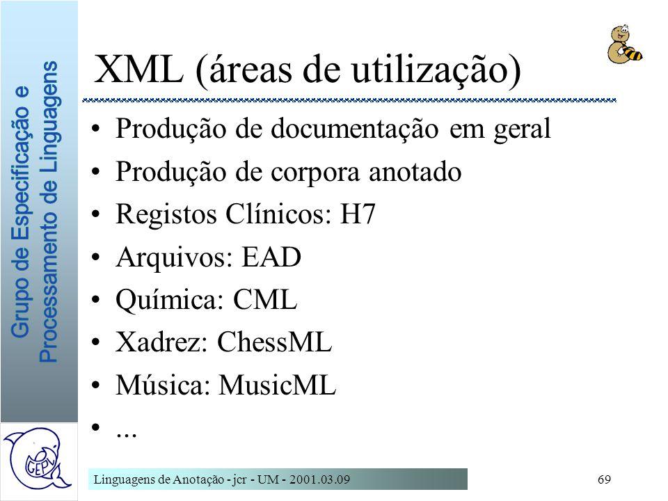 XML (áreas de utilização)