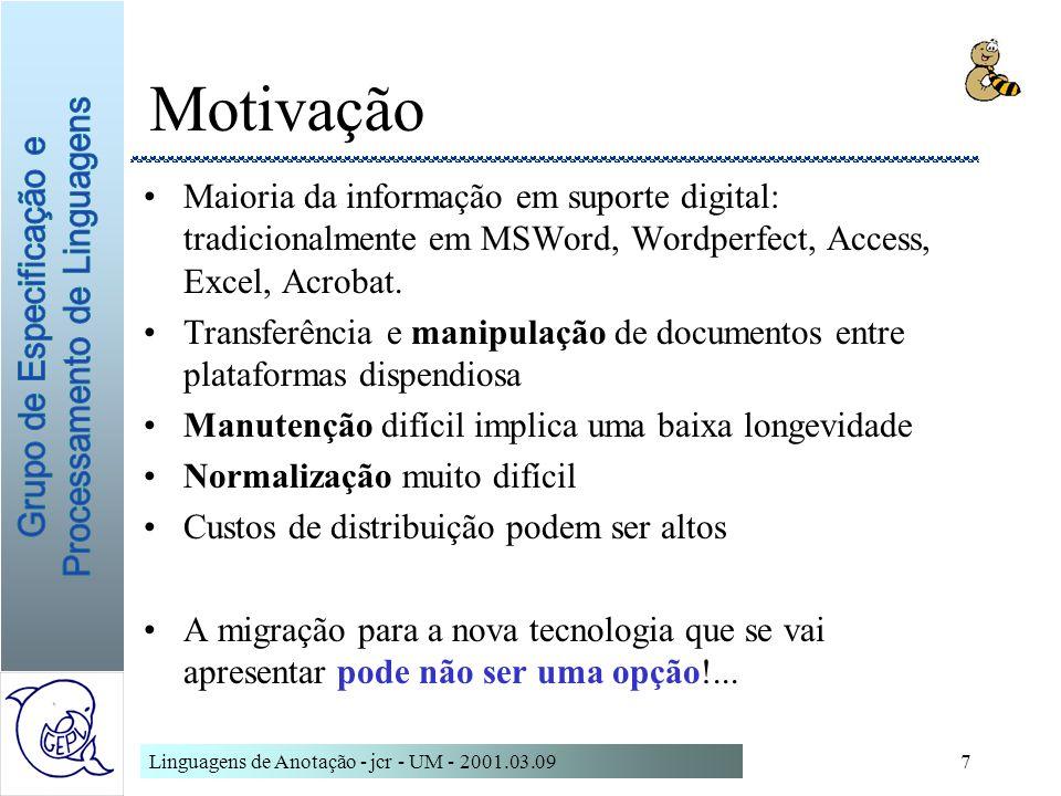 Motivação Maioria da informação em suporte digital: tradicionalmente em MSWord, Wordperfect, Access, Excel, Acrobat.