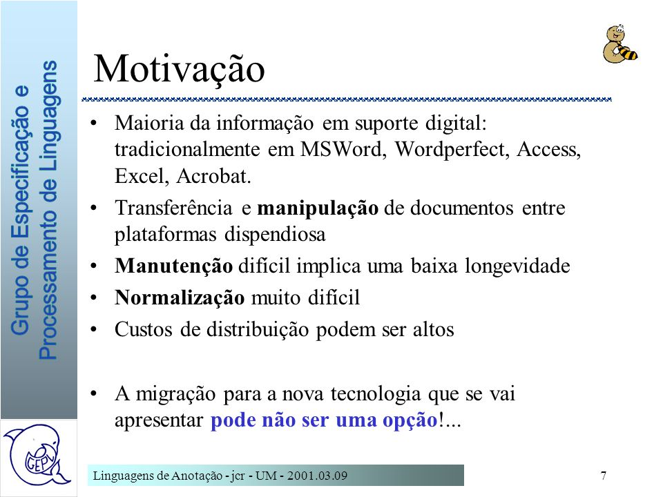 MotivaçãoMaioria da informação em suporte digital: tradicionalmente em MSWord, Wordperfect, Access, Excel, Acrobat.