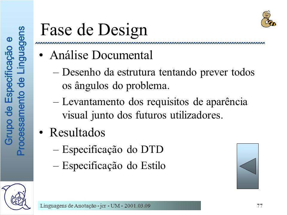 Fase de Design Análise Documental Resultados