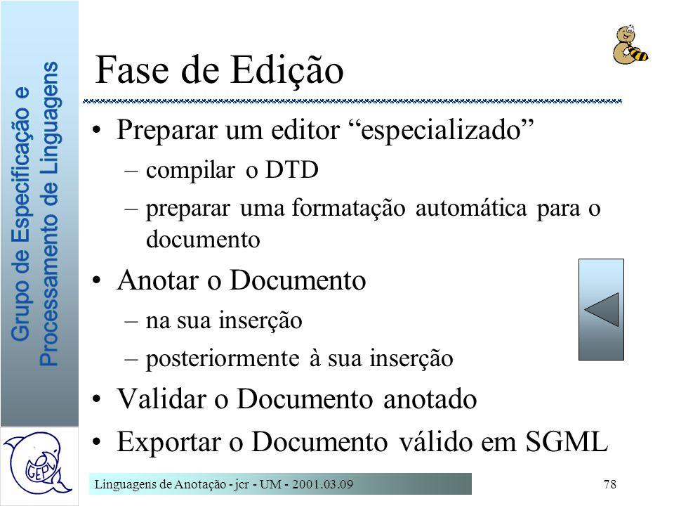 Fase de Edição Preparar um editor especializado Anotar o Documento