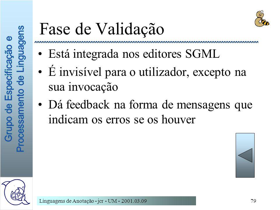 Fase de Validação Está integrada nos editores SGML