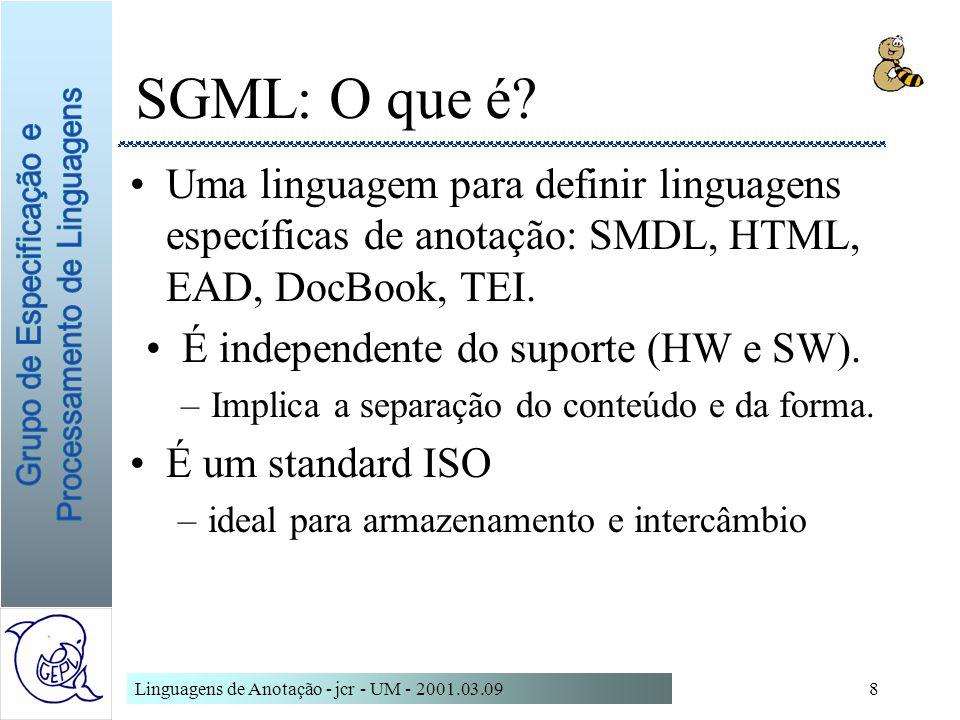 SGML: O que é Uma linguagem para definir linguagens específicas de anotação: SMDL, HTML, EAD, DocBook, TEI.