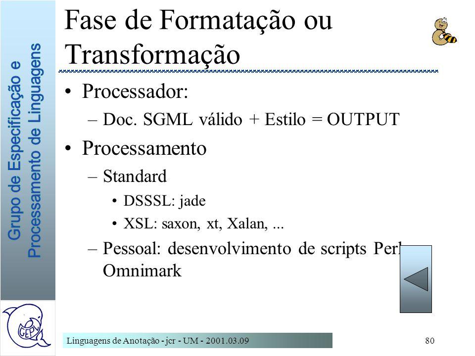 Fase de Formatação ou Transformação