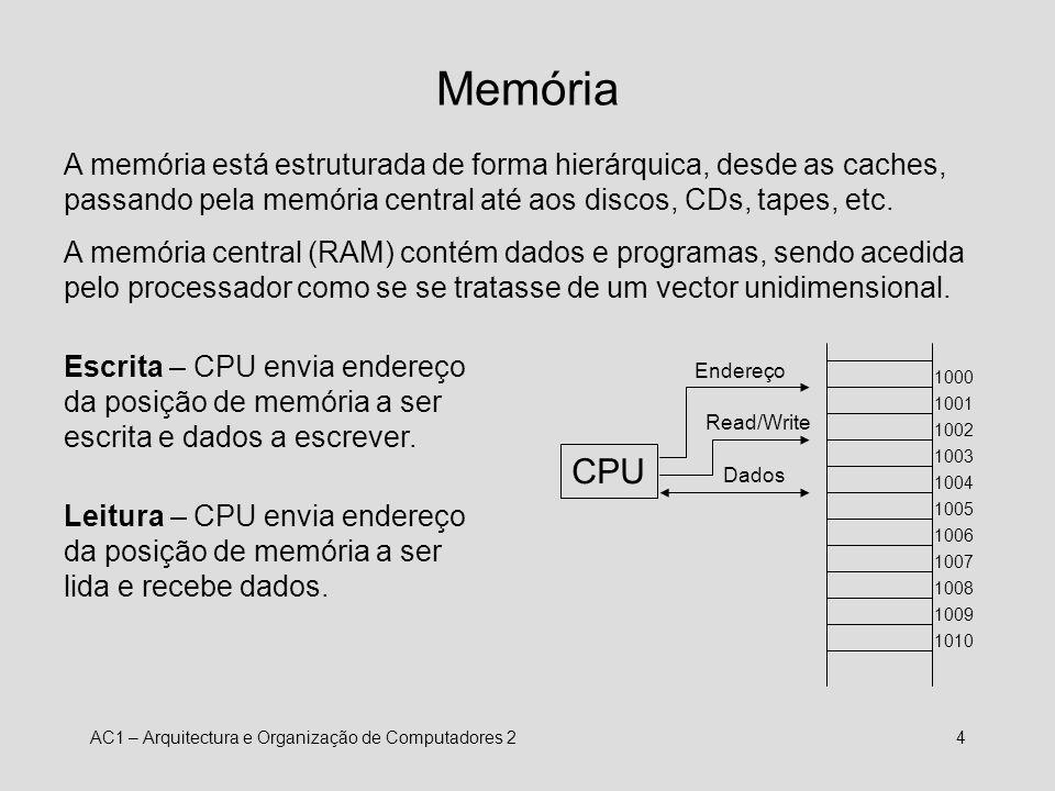 Memória A memória está estruturada de forma hierárquica, desde as caches, passando pela memória central até aos discos, CDs, tapes, etc.