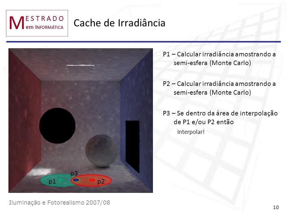 Cache de Irradiância P1 – Calcular irradiância amostrando a semi-esfera (Monte Carlo)