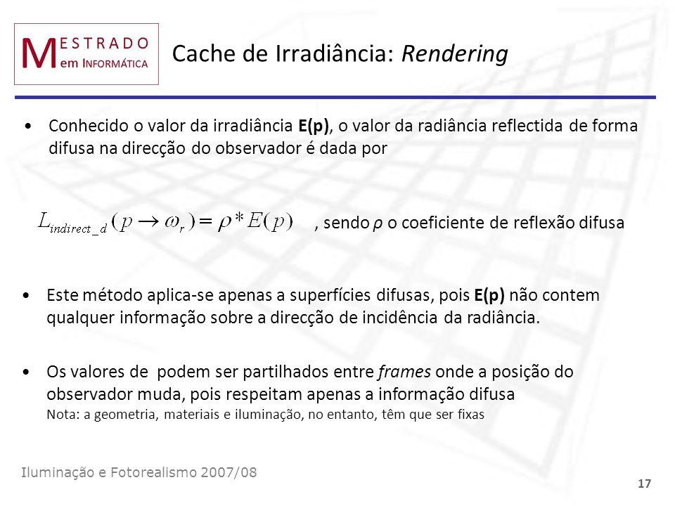 Cache de Irradiância: Rendering