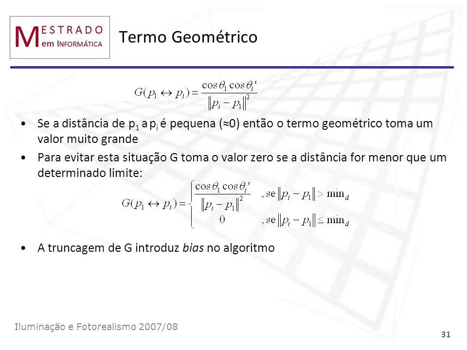 Termo Geométrico Se a distância de p1 a pi é pequena (≈0) então o termo geométrico toma um valor muito grande.