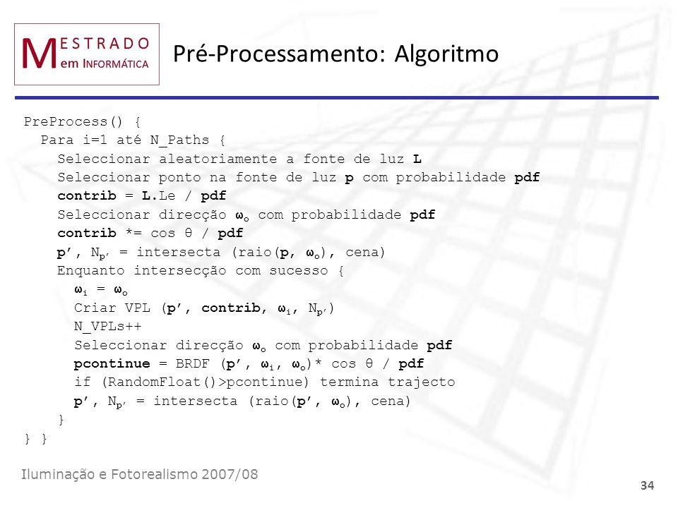 Pré-Processamento: Algoritmo