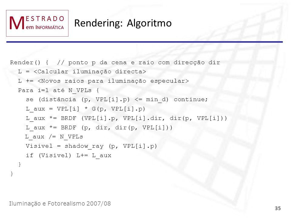 Rendering: Algoritmo