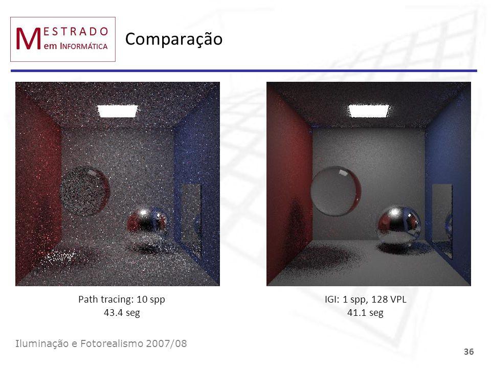 Comparação Path tracing: 10 spp 43.4 seg IGI: 1 spp, 128 VPL 41.1 seg