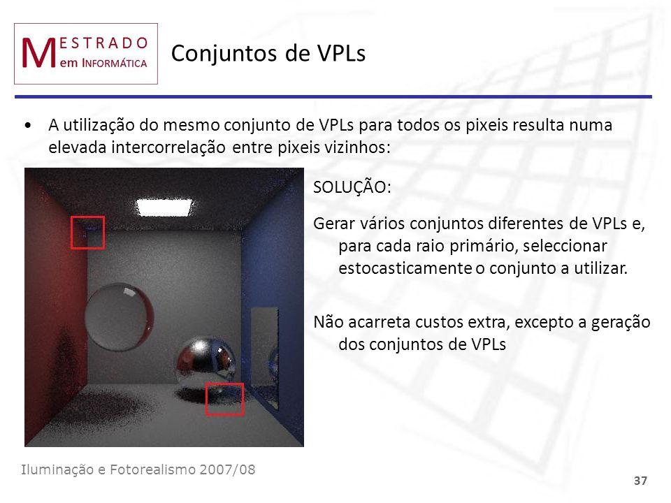 Conjuntos de VPLs A utilização do mesmo conjunto de VPLs para todos os pixeis resulta numa elevada intercorrelação entre pixeis vizinhos: