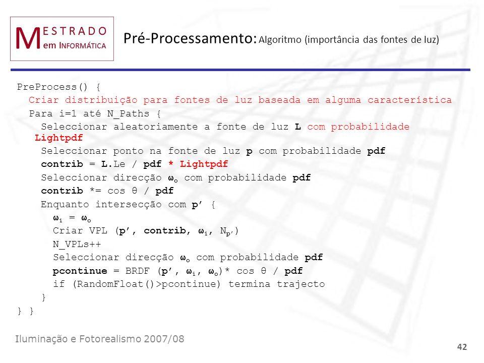 Pré-Processamento: Algoritmo (importância das fontes de luz)